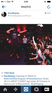 Original source: BAS' instagram page @FIENDBASSY..onstage at Fortune.