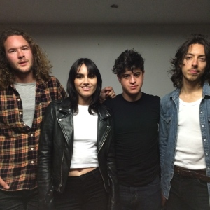 THE PREATURES (minus drummer Luke Davison) l to r: bassist Thomas Champion, singer Isabella Manfredi, singer and guitarist Gideon Bensen, and guitarist Jack Moffitt.
