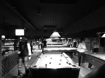 Packed Pool Hall GUYS AND DOLLS