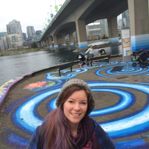 VAN-ARTIST EMILY GRAY at her co-created PUBLIC ART piece SPYGLASS in False Creek/beside the Cambie Street Bridge