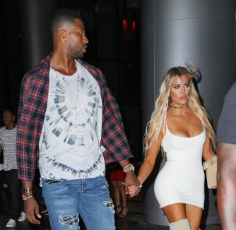 EXCLUSIVE: Khloe Kardashian and Tristan Thompson hold hands after dinner at Zuma in Miami